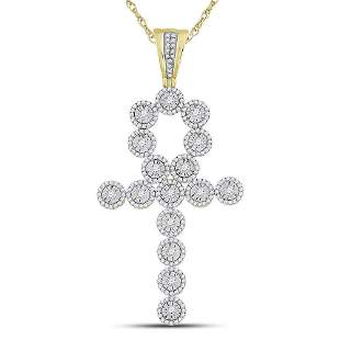 14kt Yellow Gold Mens Round Diamond Ankh Cross Charm