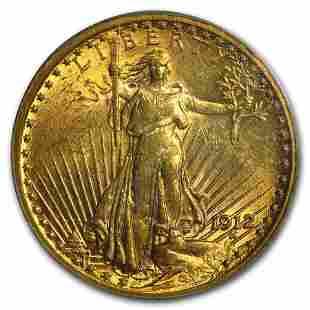 1912 $20 Saint-Gaudens Gold Double Eagle AU