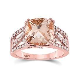 14kt Rose Gold Womens Cushion Morganite Diamond