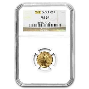1/10 oz Gold American Eagle MS-69 NGC (Random Year)