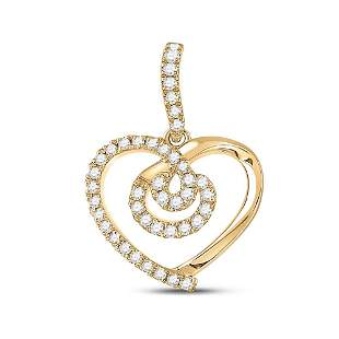 14kt Yellow Gold Womens Round Diamond Heart Pendant 1/5