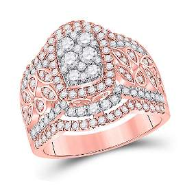 14kt Two-tone Gold Round Diamond Cluster Bridal Wedding