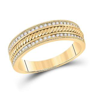 14kt Yellow Gold Mens Round Diamond Wedding Rope Inlay