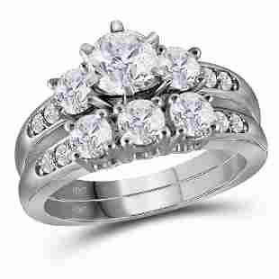 14kt White Gold Round Diamond 3-Stone Bridal Wedding