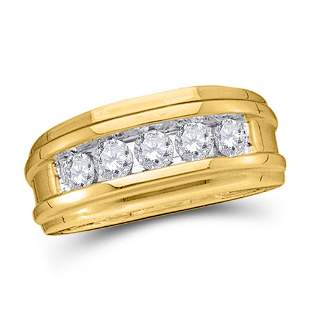 14kt Yellow Gold Mens Round Diamond Wedding Single Row