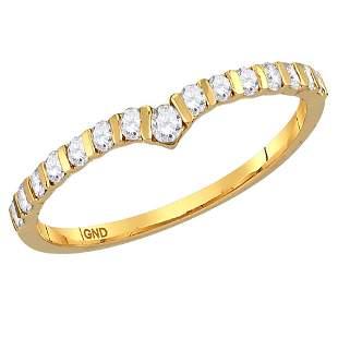 14kt Yellow Gold Womens Round Diamond Chevron Stackable