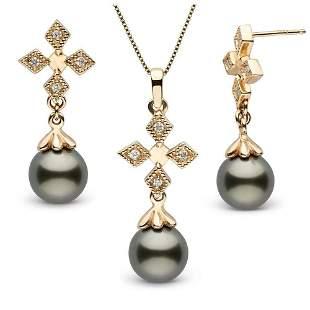 Black Tahitian Pearl and Diamond Cross Pendant and