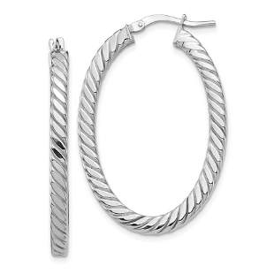 14k White Gold Polished & Twisted Oval Hoop Earrings -