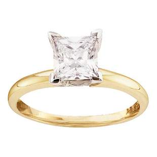 14kt Yellow Gold Womens Princess Diamond Solitaire