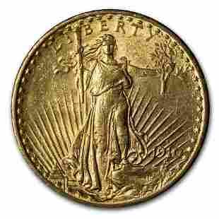 1910-S $20 Saint-Gaudens Gold Double Eagle AU
