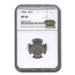 1866 Three Cent Nickel MS-66 NGC CAC