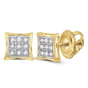 14kt Yellow Gold Womens Round Diamond Kite Square