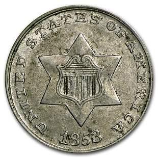 1853 Three Cent Silver AU