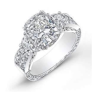 Natural 3.64 CTW Cushion Cut & Half Moon Diamond