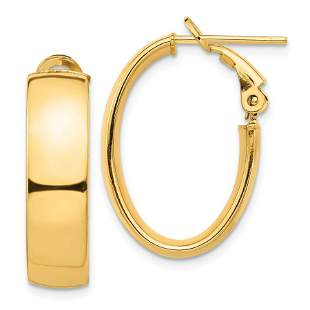 14k Yellow Gold Omega Back Oval Hoop Earrings - 7x13 mm