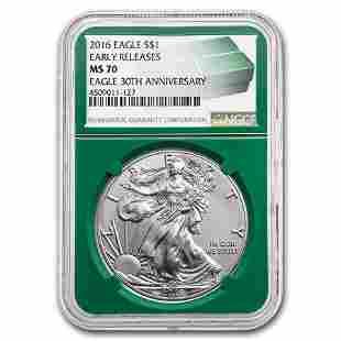 2016 Silver American Eagle MS-70 NGC (ER, Green Holder)