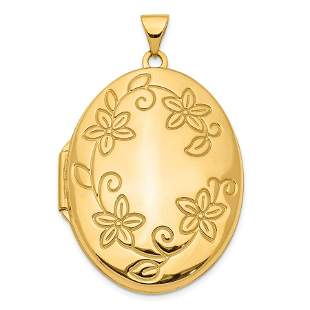 14k Yellow Gold 33 mm Oval Locket Pendant