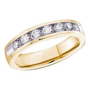 14kt Yellow Gold Womens Round Diamond Channel-set 4mm