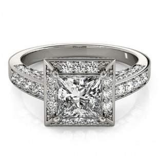 Natural 2.1 ctw Princess Diamond Halo Ring 14k White