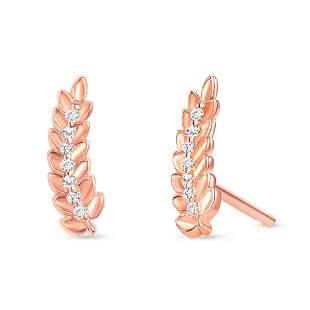 Natural 0.06 CTW Leaf Diamond Earrings 18KT Rose Gold