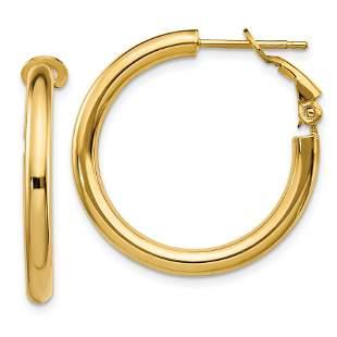 14k Polished Round Hoop Earrings - 3x20 mm