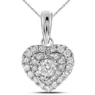 14kt White Gold Womens Round Diamond Fashion Heart