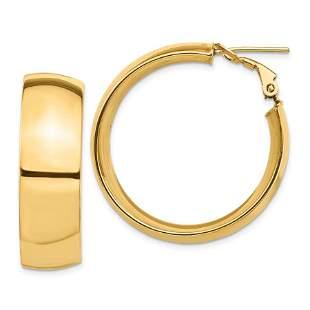14k Yellow Gold Omega Back Hoop Earrings - 10x32 mm