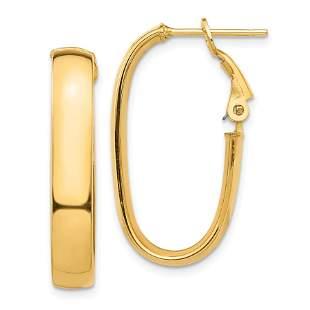 14k Yellow Gold Omega Back Oval Hoop Earrings - 5x16 mm