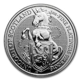 2019 Great Britain 1 oz Platinum Queen's Beasts The