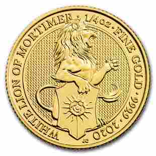 2020 Great Britain 1/4 oz Gold Queen's Beasts The White