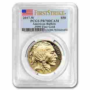 2017-W 1 oz Proof Gold Buffalo PR-70 PCGS (FS, Flag