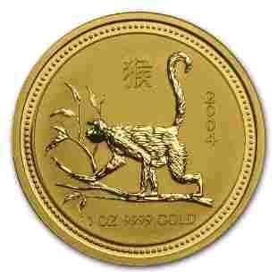 2004 Australia 1 oz Gold Lunar Monkey BU (Series I)