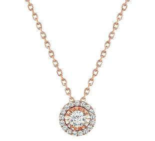 Natural 0.67 CTW Halo Diamond Pendant Necklace 18KT