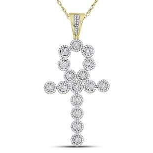14kt Yellow Gold Mens Round Diamond Ankh Cross Charm