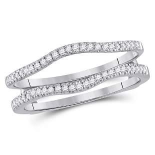 14kt White Gold Womens Round Diamond Ring Guard Wrap