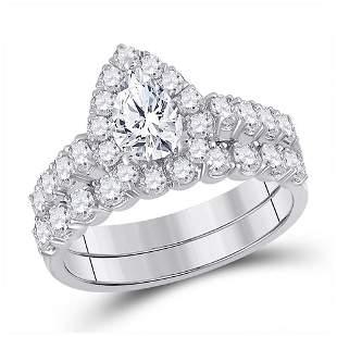 14kt White Gold Oval Diamond Bridal Wedding Ring Band