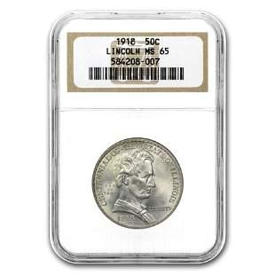 1918 Lincoln Illinois Centennial Half Dollar MS-65 NGC