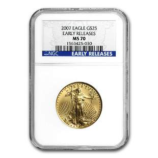 2007 1/2 oz Gold American Eagle MS-70 NGC (Early
