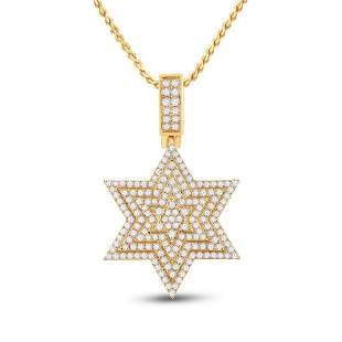 14kt Yellow Gold Mens Round Diamond Magen David Star