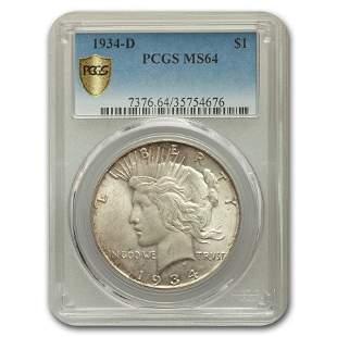 1934-D Peace Dollar MS-64 PCGS