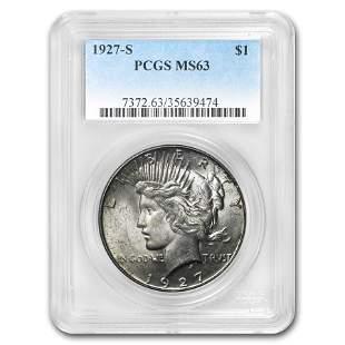 1927-S Peace Dollar MS-63 PCGS