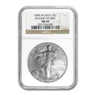 2008-W Burnished Silver American Eagle MS-69 NGC (Rev