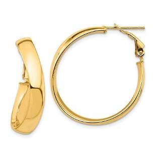 14k Yellow Gold Wavy Omega Back Hoop Earrings - 5x28 mm