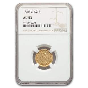 1846-O $2.50 Liberty Gold Quarter Eagle AU-53 NGC