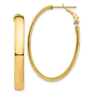 14k Yellow Gold Omega Back Oval Hoop Earrings - 5x26 mm