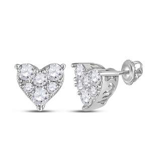 14kt White Gold Womens Round Diamond Heart Earrings 1/3