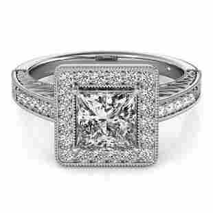 Natural 1.05 ctw Princess Diamond Halo Ring 14k White