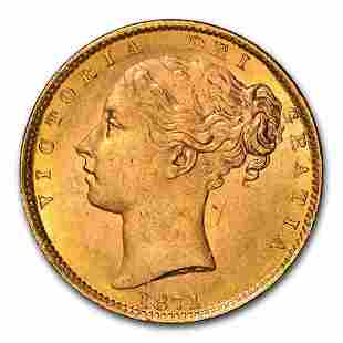 1871 Great Britain Gold Sovereign Victoria Shield MS-64