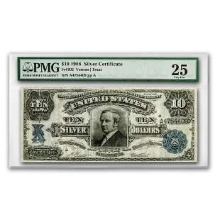 1908 $10 Silver Certificate Hendricks Tombstone VF-25