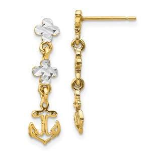 14k Yellow Gold w/Rhodium Anchor Dangle Post Earrings